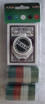Покер комплект чипове 48 броя, 4 цвята с карти