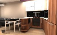 Кухня с бар плот-