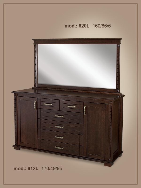 Трапезен шкаф 812 L МДФ фурнир дъб+ огледало 820 L