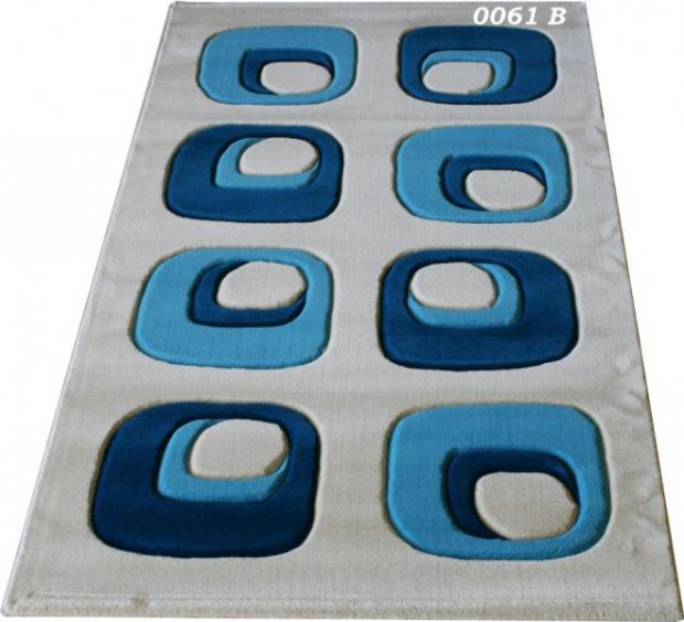 Машинни килими с десени в синьо 80х150см