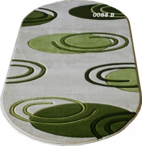Овални машинни килими в сиво и зелено 66/100см