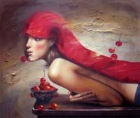 Живописна авторска картина Момиче с череши