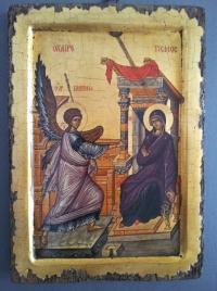 Авторска икона от дърво Благовещение
