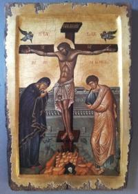 Авторска икона от дърво Разпятие Христово